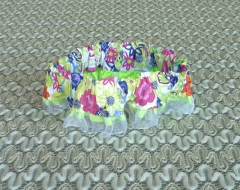 """Pink and Blue Floral Dog Scrunchie Collar with organza and ribbon ruffle - Size M: 14"""" to 16"""" neck"""
