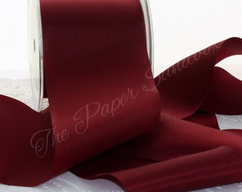 """Burgundy Satin Ribbon, 3"""" wide Ribbon by the yard, Christmas Ribbon, Crafts, Weddings, Party Supplies, Gift Wrapping, Ribbon Flowers"""