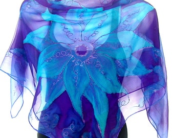 "RESERVED For Kerry Hand Painted Silk Scarf, Turquoise Purple, 35"" Square Floral Silk Chiffon Scarf, Gift For Her"
