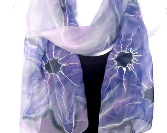 "Abstract Silk Scarf, Hand Painted Silk Scarf, Purple Lavender Silver Gray, 71"" Long Scarf,  Silk Chiffon Scarf, Gift For Her"