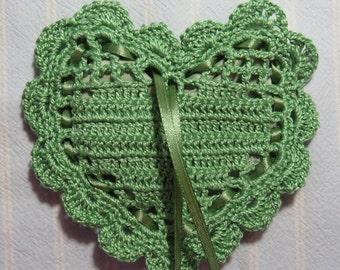 "Green 4""X4"" Heart Sachet-'Green Meadow' Fragrance-Pistachio Green-Hand Crocheted Sachet-Cotton and Satin-Cindy's Loft-368"