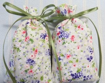 "Ivory 3""X2"" Sachet-'Potpourri' Fragrance-Green/Lavender Floral Sachet-Green Ribbon-Cotton Fabric Herbal Sachet-Cindy's Loft-666"