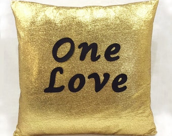 ONE LOVE Gold Christmas Pillow Cover. Black Hand Cut Text. Bling Sparkling Decorative Cushion Cover