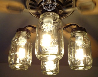 Mason Jar CEILING FAN Light KIT Only with New Quarts - Farmhouse Chandelier Flush Mount Lighting Fixture Kitchen Bathroom Remodel Fan Track