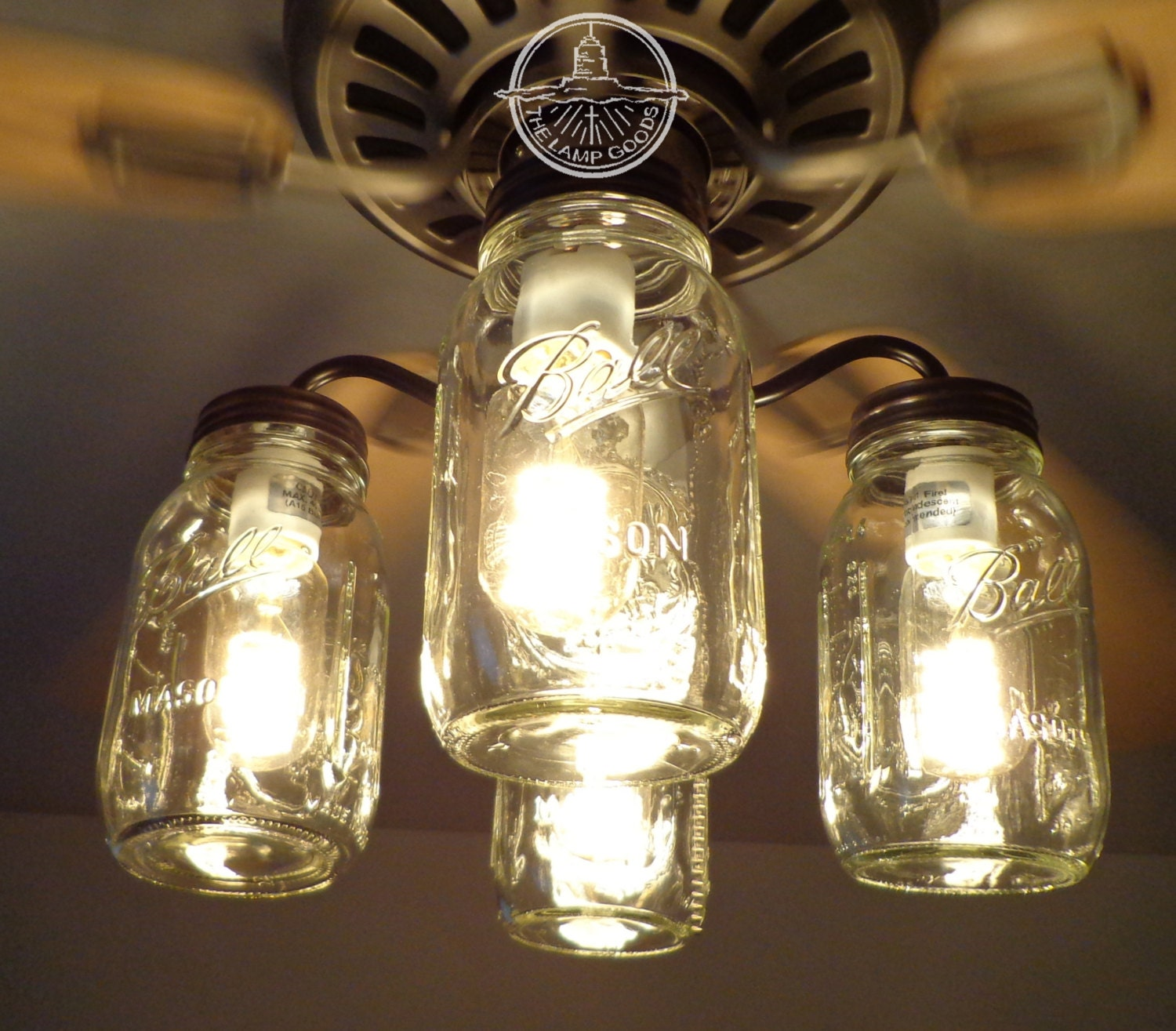 Mason Jar Ceiling Fan Light Kit Only With New Quarts Rustic