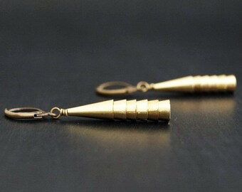 Raw Brass Earrings/ Brass Cone Earrings / Golden Earrings / Geometric