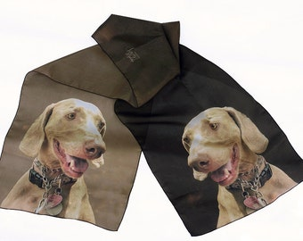 Scarf with your Dog Cat Pet Custom Made Digital Print from Your Pet Photos or Art Beige Tone Your Layout