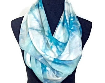 BlueGreen and Aqua Hand Dyed Silk Scarf 14x72 in * 35.56x182.88 cm