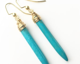 Wrapped Turquoise Points Earrings