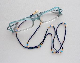 Eyeglass Necklace Peacock Japanese Bugle Beads Miyuki Gold Plated Delica's and Swarovski Montana AB Bicone Crystals
