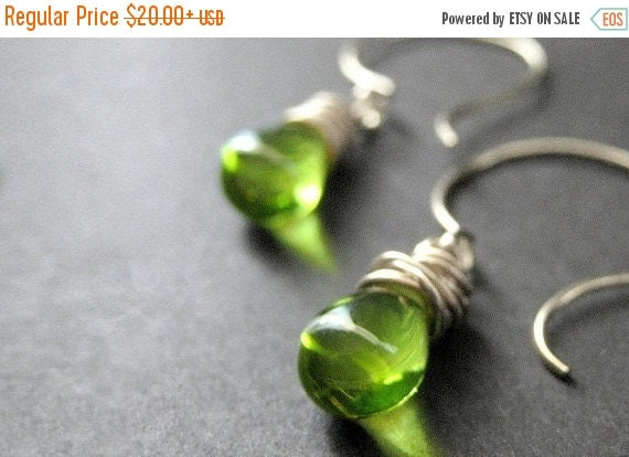 BACK to SCHOOL SALE Green Earrings. Teardrop Earrings. Wire Wrapped Earrings in Green and Silver. Elixir of Absinthe. Handmade Earrings.