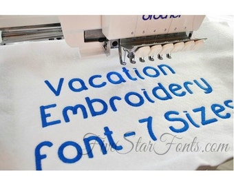 Vacation Embroidery Font