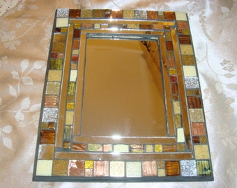 MOSAIC MIRROR, Accent Mirror, Shades of Brown, Bronze, Silver, Gold, Tan, Beige