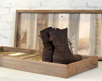 Boot Tray Made from Reclaimed Wood - Shoe Storage Entryway Organization - 36 inches Long by 15 inches Wide - IN STOCK - Same Day Shipping