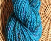 Hand Spun Hand Dyed Merino Silk Yarn, Deep Turquoise
