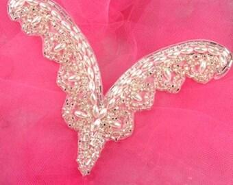 "Silver Beaded Pearl Collar Applique 6"" (FS617-slp)"