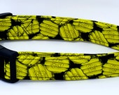 Stuck In A Dill Pickle Green Pickles Chips Green and Black Food Dog Collar
