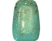 Large Green Turquoise Pendant - 60 x 37 x 10mm - 40 grams - geometric rectangle trapezoid shape - stabilized turquoise  with brown matrix