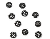 6mm Black Filigree Bead Caps - use on rosary chain necklaces or give your next jewelry project a vintage- Victorian- look