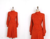 SALE... Vintage 1960s Dress / 60s Andre Laug Printed Rayon Dress / Orange (small S)