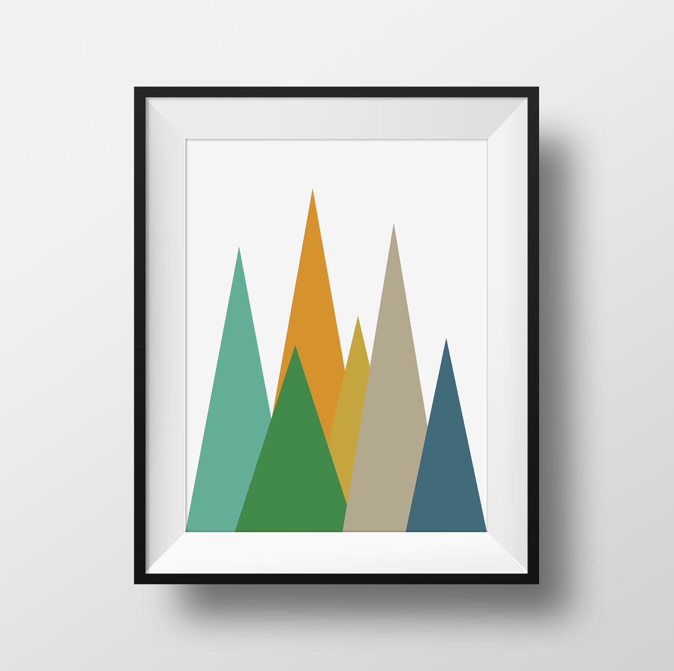 Mountains Mid Century Modern Wall Art Green and Yellow Retro