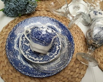 Vintage Blue and White Transferware China Dinner Set for Four