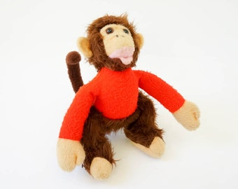 Vintage 1960s Toy / 60s Rare Animal Fair Monkey Plush Toy / Retro Baby Nursery Childrens Room Decor, Circus Animal Theme