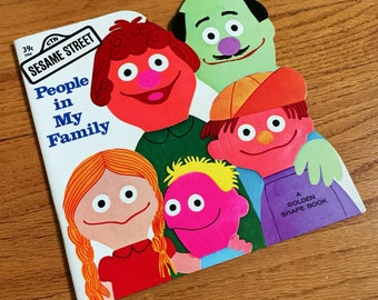 Sesame Street People in My Family by Jeffrey Moss 1971 Like-New Pb / Vintage Childrens Golden Shape Book