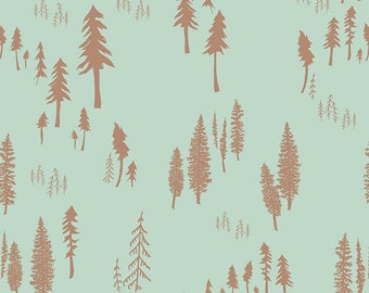 Hello Bear Art Gallery Fabric Timberland Dew Forest Golden Trees on Aqua Blue Mint