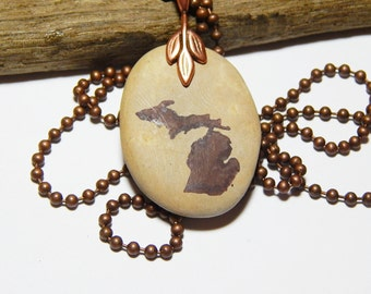 Michigan hand stamped Beach Stone Necklace, copper ball chain, copper bail, State of Michigan, State Jewelry, up north