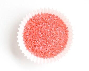 Coral Crystal Sugar, Coral Sparkling Sugar, Coral Crystal Sanding Sugar (4 oz)