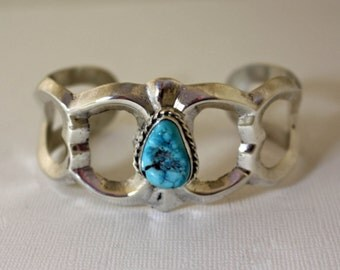 Navajo Silver Bracelet Cast Turquoise