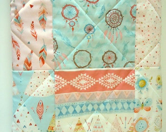 Baby Girl Quilt-Tribal Nursery Patchwork Crib Bedding-Native American Indian-Dream Catcher-Teepee-Arrows-Pastel Pink-Blue-Baby Blanket