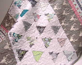 Tribal Baby Nursery Crib Bedding-Baby Girl Woodland Quilt-Teepee-Buck-Mint-Antler-Gray-Grey-Aztec Baby Blanket-Toddler Quilt