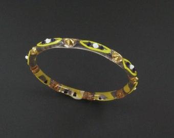 Art Glass Bracelet, Glass Bangle, Lampwork Glass Bracelet, Yellow Glass Bracelet, Unique Bracelet, Art Glass Jewelry