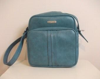 Cool 60s Robin Egg Blue Flight Bag, Vegan, World Traveler