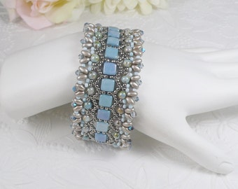 Woven Bracelet in Sky Blue Czechmates with Super Duos and Crystals