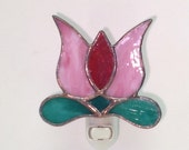 Stained Glass Pink Tulip Night Light