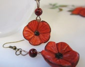 Ruby Red Poppy Flower Earrings Handcrafted Polymer Clay