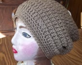 Slouchy hat, brown hat, brown beret, coffee colored hat, winter hat, teen to adult