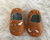 0-3 Months Quail Family on Pumpkin Orange Baby Bootie - Elastic Back - Ready to Ship