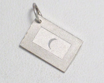 silver moon Flag pendant charm United Nations Maldives 4 bracelet or necklace 925 sterling silver ingot travel theme jewelry adoption center