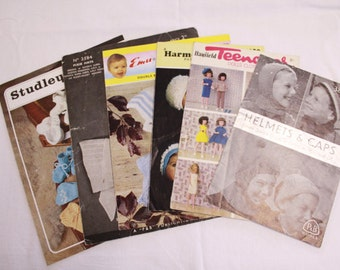 Bundle of vintage children's knitting patterns for hats and accessories