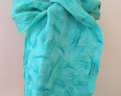 Hand dyed merino wool and silk mawata scarf/wrap