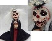 Sugar Skull Day of The Dead Goddess OOAK Fairy Fairies Art Dolls NEW Figurine Polymer Clay Black Red Decor