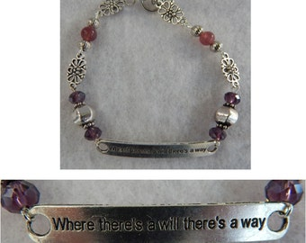 "Where There's a Will There's a Way Link Bracelet Jewelry Handmade NEW Chain 8"" Silver"