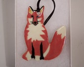 Red Fox Ornament - Handpainted Porcelain