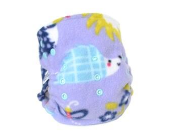 Cloth Diaper Cover OS, Fleece - Hedgehogs, lavender