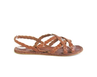 1970s Braided Leather Sandals Hippie Womens Leather Gladiator Sandals Woven Leather Strappy Brown Leather Flat Slingback Sandals Size 5.5