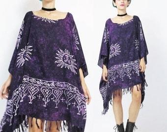 25% off SALE Draped Caftan Dress Purple Tie Dye Dress Hippie Boho Kaftan Dress Beach Swim Cover Up SUNS Draped Slouchy Ethnic Fringe Caftan